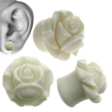 Cream Eden Rose Resin Ear Tunnel Plugs Flared