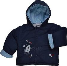 Baby Boy Snug & Cosy Reach for the Stars Rocket Hooded Jacket in Navy 6-23 month