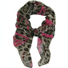 BUCASI LEOPARD PRINT AND HEART PRINT SCARF in Blue or Pink