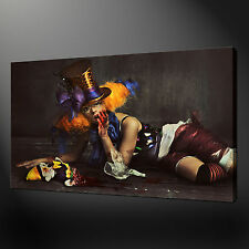 SCARY CLOWN PREMIUM QUALITY CANVAS PRINT PICTURE WALL ART DESIGN FREE UK P&P