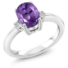 1.14 Ct Oval Purple Amethyst White Topaz 925 Sterling Silver Ring