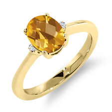 1.29 Ct Oval Checkerboard Yellow Citrine White Topaz 18K Yellow Gold Ring