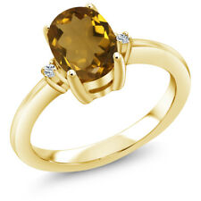 1.19 Ct Oval Whiskey Quartz White Topaz 14K Yellow Gold Ring