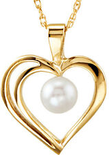 New 14K Yellow Gold Akoya Cultured Pearl Heart Pendant Necklace