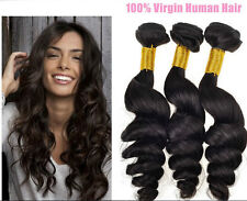 100% Brazilian Virgin Remy Human Hair Loose Wave Weave Weft Extensions Black X 3