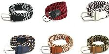 "Unisex Women Men Canvas Stretch Braided Elastic Golf Belt 1.4"" Dual Multi Color"