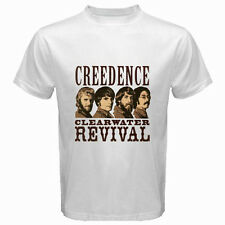 New CREEDENCE CLEARWATER REVIVAL 70's Rock Band Men's White T-Shirt Size S-3XL
