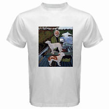 New Goodfellas Painting Old Man with Two Dogs Men's White T-Shirt Size S to 3XL