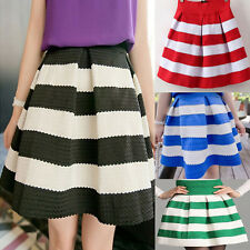 Sweet Girl Lady Mini Dress Flared Scalloped Stripe Short Skirt Blue White Black