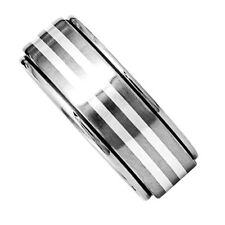 8mm Grooved Titanium Band Duo Sterling Silver Strips Inlay Men's Wedding Ring