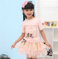 T170  Cute Beautiful Pink Flowers Lace Bow T-shirt Baby Girls Skirts set  US