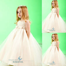 New Ivory Organza Lace Wedding Formal Flower Girl's Dress Dance Party Girl Dress