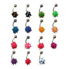 Spikey Koosh Belly Bar Silicone Navel Piercing 1.6mm 14G 12mm Length Colours
