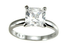 1.5 Ct. Cubic Zirconia .925 Sterling Silver  Princess Ring,Rhodium Plated