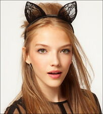 Black or White Lace Cat Ears on headband,Fancy dress,Christmas,NYear Party ASOS.