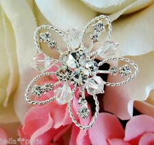 Swarovski Crystal Beaded Flower Bridal Bouquet Pick Set of 2 in Silver or Gold