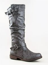 NEW BAMBOO Women Distress Ruched Buckle Riding Knee High Boot sz Gray Montage02n