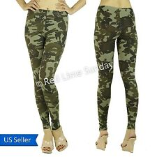 Women Army Green Camouflage Print Camo Stretchy Cotton Leggings Tight Pants