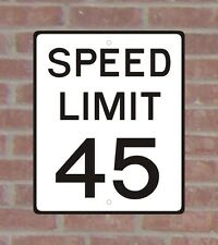 Speed Limit 45 .063 White Aluminum Sign Reflective Vinyl Copy