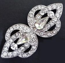 /pr Bridal Flower Clear White Rhinestone Clasps Buckle Closure Button Hook BC7