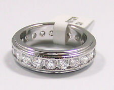 4 Ct. Sparkling CZ Cubic Zirconia Eternity Ring, Rhodium Plated, SZ 5,7.8.9