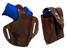 NEW Barsony Brown Leather Pancake Holster+Dbl Mag Pouch FEG, Makarov Comp 9mm 40