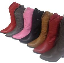 Womens COWGIRL Boots COWBOY Black, Light Brown, Dark Brown, Red, Gray, Pink