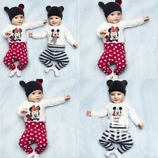 Boys Girls Baby Romper Mickey&Minnie Bodysuit Suit Set With Hat For 0-3Yrs