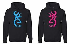 Two couple hoodies Browning Style Love Heart Buck and Doe Hooded Sweatshirt