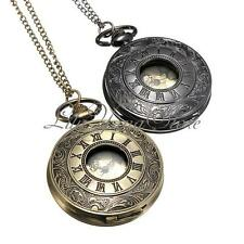 Vintage Roma Numerals Steampunk Clock Necklace Chain Quartz Pocket Watch Bronze