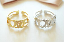 Love ring in Gold or White gold / Knuckle ring, Letter ring, Adjustable ring
