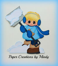 Shoveling boy winter premade paper piecing for scrapbook page embellishment