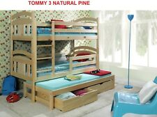 NEW PINE 3ft  WOODEN BUNK BED WITH TRUNDLE  BED,MATTRESSES AND  STORAGE DRAWERS