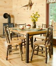 "*HICKORY or HICKORY & OAK* Rustic Dining Room Set- 60"" Table & 6 Chairs"