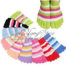 3/5/6 Pairs Funny Warm Feet Ankle Length Five Fingers Striped Toe Socks One Size