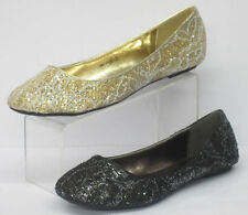 *SALE* Ladies Spot On Glitter/Lace Flat Ballerina Shoes - F8863
