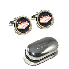 Black Las Vegas Sign Cufflinks with Personalised Gift Box - Stag Do, Birthday's