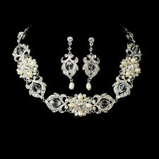 Silver or Gold Swarovski Crystal Pearl Necklace Earring Bridal Jewelry Set