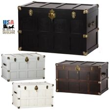 Large Amish Made Hardwood Steamer Trunk Linen Chest Brass Leather Hardware