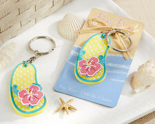 Summer Beach Flip Flop Tropical Flower Keychain Ring Bridal Wedding Party Favor
