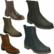 ORINOCO CLUB LADIES CLARKS PULL ON LEATHER ELASTICATED SMART ANKLE CHELSEA BOOTS