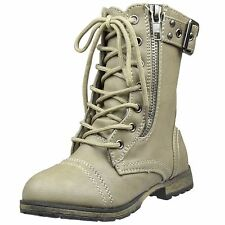 Kids Mid Calf Boots Buckle Accent Lace Up Combat Zipper Boots Taupe Youth Sz 9-4