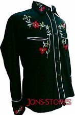 BLACK with RED FLOWERS COWBOY ROCKABILLY LINE DANCING WESTERN EMBROIDERED SHIRT