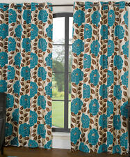 Teal Green Floral Flock Fully Lined Eyelet Curtains Next Working Day Available