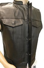 MEN'S SON OF ANARCHY LEATHER MOTORCYCLE VEST 2 GUN POCKETS INSIDE ZIPPERS NAKED