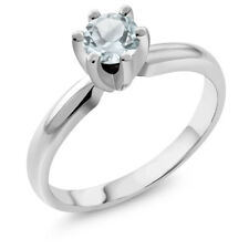 0.45 Ct Round Sky Blue Aquamarine 925 Sterling Silver Ring