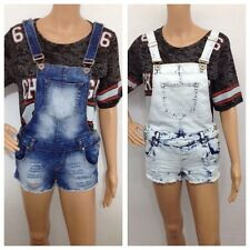 WOMENS LADIES VINTAGE ACID BLUE WASH DISTRESS RIPPED DENIM DUNGAREES SHORTS
