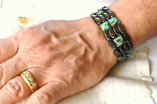 Men's Magnetic Hematite AFRICAN TURQUOISE Bracelet SUPER STRONG 4 ROW THERAPY!