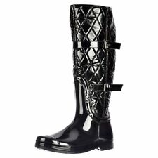 LADIES QUILTED THERMAL WELLINGTON BOOTS BUCKLE WINTER ZIP UP WELLIES BLACK SIZE