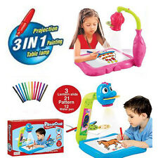Kids Projector Painting 3in1 Play Drawing Board 12 Water Pen Table Lamp Painting